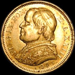 20 Lires Pie IX 1868